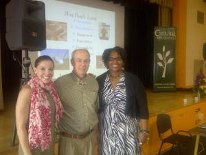Writer Ralph Fletcher, Growing Educators Co-Founder Renee Houser, and Principal Carlen Powell